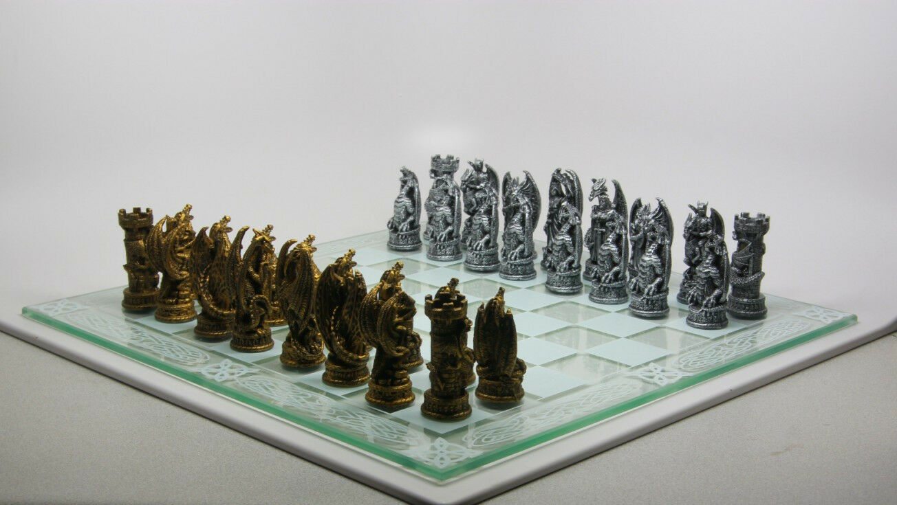 Chess Set Pieces And Glass Board Ancient Dragon Lair