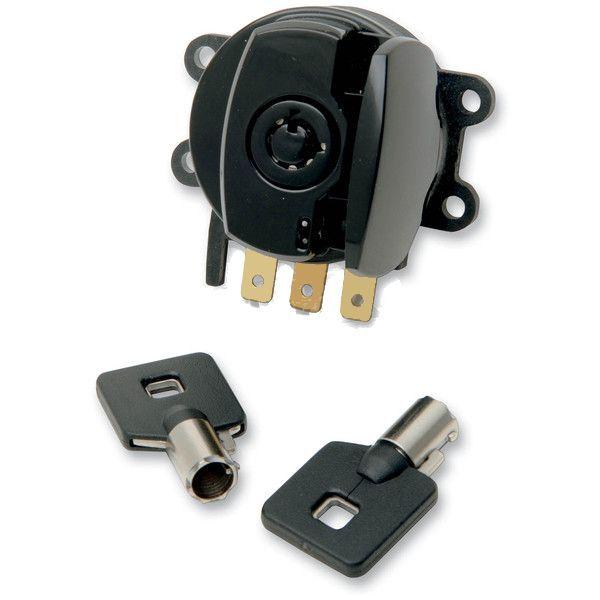 black ignition switch with keys harley road king flhr. Black Bedroom Furniture Sets. Home Design Ideas