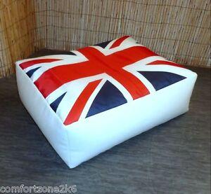Faux Leather Union Jack Beanbag Footstool Bean Bag Cube