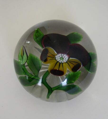FINE ANTIQUE FRENCH BACCARAT GLASS PANSY PAPERWEIGHT c 1860 in Pottery, Porcelain & Glass, Glass, Paperweights | eBay
