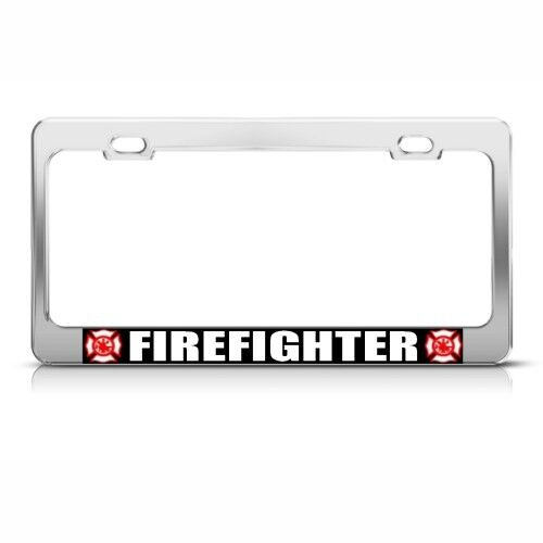 Firefighter Fire Career License Plate Frame Stainless Metal Tag Holder