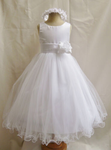 FL WHITE SASH COLOR TODDLER FLOWER GIRL DRESS PAGEANT WEDDING PARTY FORMAL GOWN in Clothing, Shoes & Accessories, Wedding & Formal Occasion, Girls' Formal Occasion | eBay