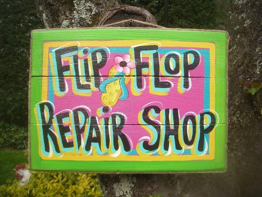 7c8d7edb1205 Flip Flop Repair Shop Tropical Tiki Hut Bar Pool Beach Patio Sign Plaque