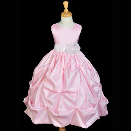 FLOWER GIRL DRESS PINK WHITE TAFFETA WEDDING 6M 9M 12M 18M 2 2T 3 4 5 6 7 8 9 10 in Clothing, Shoes & Accessories, Wedding & Formal Occasion, Girls' Formal Occasion | eBay