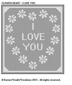 Flower Heart I Love You Filet Crochet Pattern | eBay