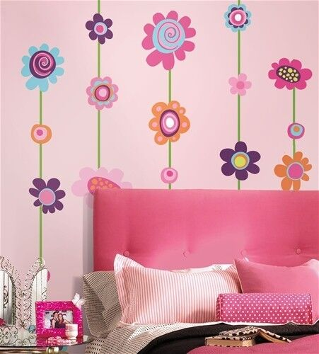 FLOWERS STRIPE 53 Removable Wall Stickers VINE BORDER Girls Room Decor Decals in Home & Garden, Home Decor, Decals, Stickers & Vinyl Art | eBay