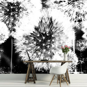 fototapete fototapeten tapeten pusteblume schwarz weiss pflanzen natur 2185 p4 ebay. Black Bedroom Furniture Sets. Home Design Ideas