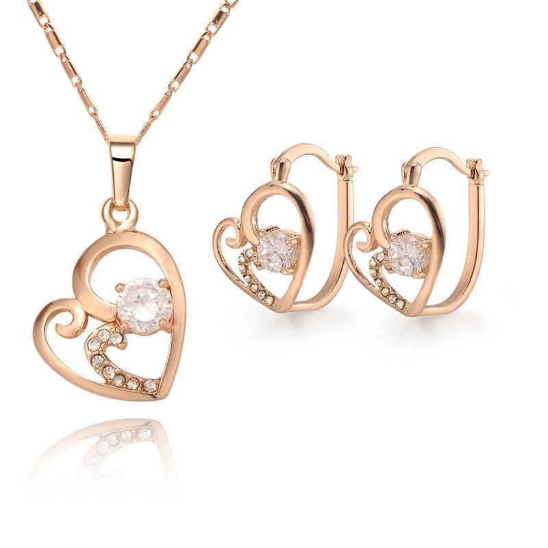 Free P P 18K Gold Plated Czech Crystal Silver Necklace Bracelet Earrings SETS925