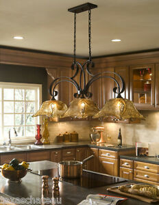 French Country Bronze Amber Art Glass Kitchen Island Light Fixture ...