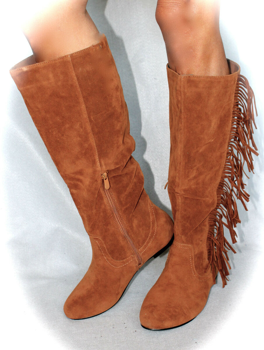 fringe boots indian chestnut dk sueded womens