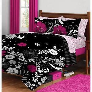 Full Girls Teen Hot Pink Black White Mod Floral 7pc Comforter Bedding