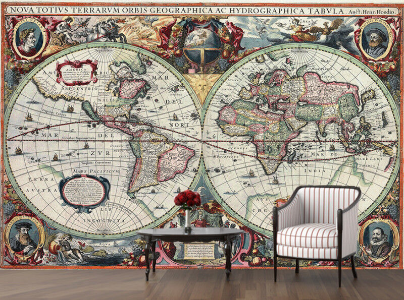 Xl wall mural vintage world map globe atlas photo for Antique world map mural