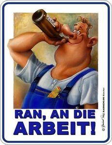 "FUN Blechschild ""RAN, AN DIE ARBEIT!"" Handwerker Bier ..."