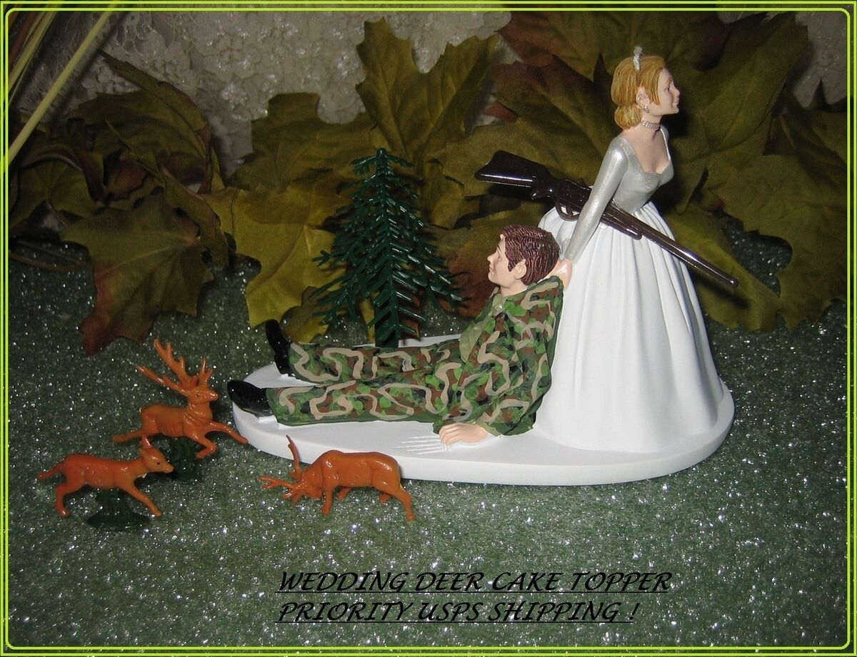 Humorous Wedding Deer Camo Hunter Hunting Cake Topper Ebay