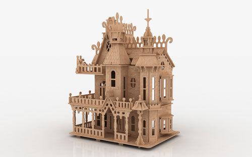 FV 3D Puzzle Laser Plan Doll House Pattern CNC Router DXF Dollhouse