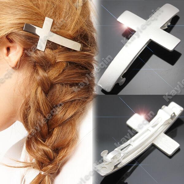 Fab Woman Silver Cross Crucifix Hair Pin Clip Cuff Wrap Claw Snap