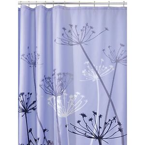 Fabric Shower Curtain Floral Gray And Purple Color