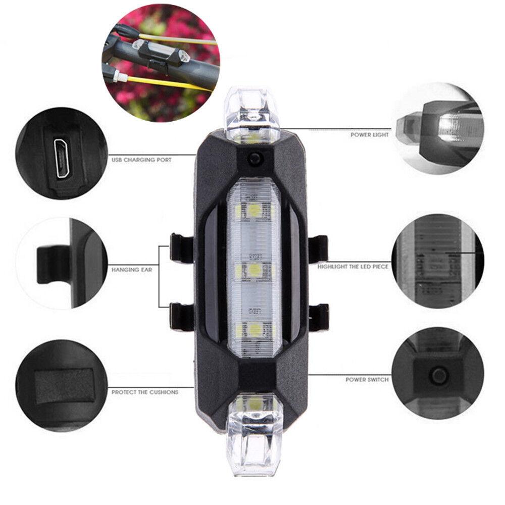 fahrrad beleuchtung wasserdichte led r cklicht usb. Black Bedroom Furniture Sets. Home Design Ideas