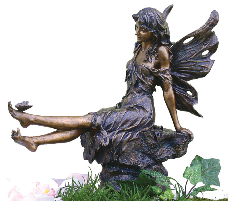 Fairy playing w butterfly indoor outdoor statue sculpture ebay - Fairy statues for sale ...