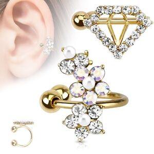 fake cuff ohrklemme gold helix cartilage ohr piercing diamant tragus ohrstecker ebay. Black Bedroom Furniture Sets. Home Design Ideas