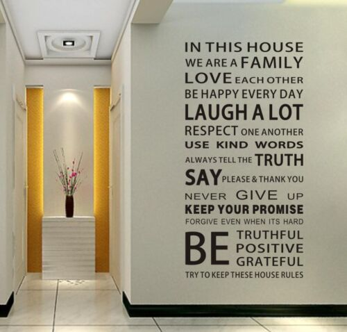 Family House Rules stickers wall Decal Removable Art Vinyl Decor Home Kids Au in Home & Garden, Home Décor, Wall Stickers | eBay