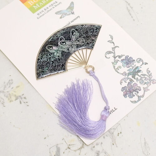 Fan shaped metal and mop bookmark butterflies and arabesque pattern with string in Books, Accessories, Bookmarks | eBay