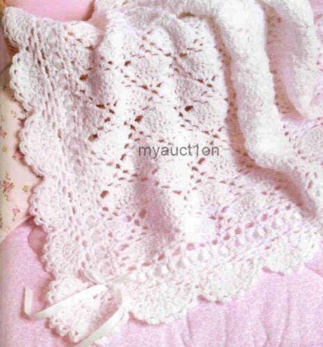 Crochet pattern baby blanket throw fancy lace ebay