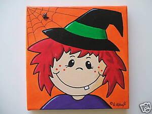 Farbkleckstiger-Bilder-Keilrahmen-Bild-Kinderzimmer-Handarbeit-Acryl-Hexe-Walli