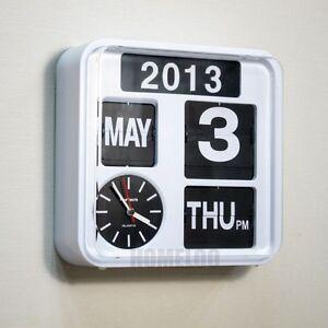 Fartech retro modern 9 5 calendar flip wall clock white White flip clock