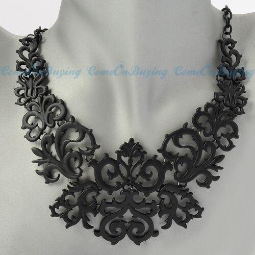Fashion Black Chain Spray Paint Pattern Hollow Out Pendant Bib Necklace