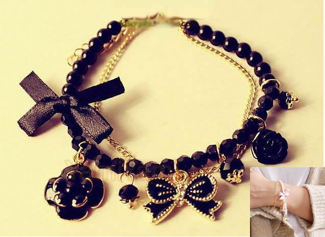 Fashion Crystal Rose Bowknot Flower Pearl Strand Hook Bracelet Girl Gift Black