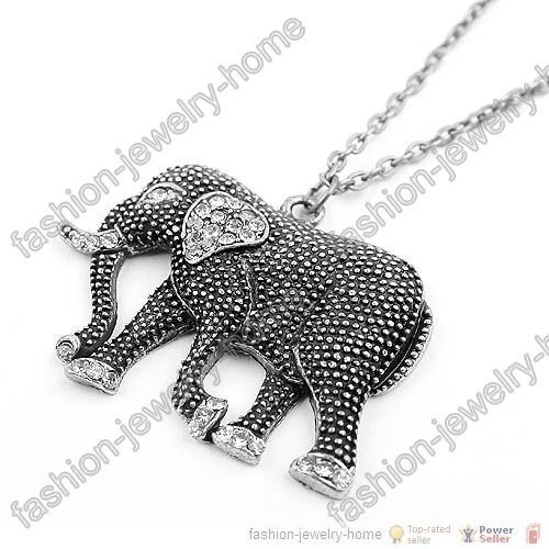 Fashion Cute Dazzling Crystal Antique Silver Elephant Chain Necklace