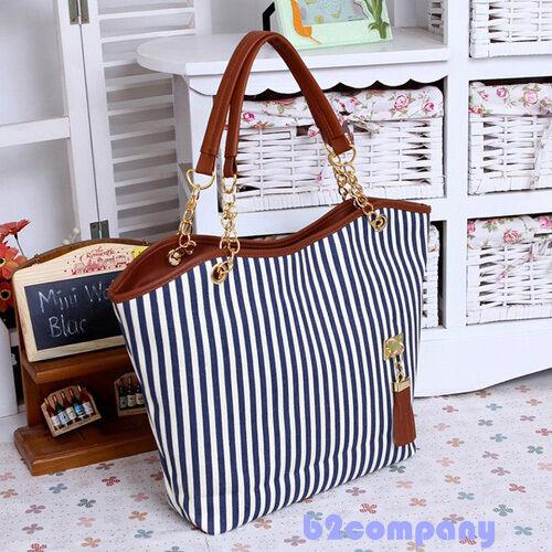 Fashion Girl Women Outdoor Stripe Tassel Totes Hobo Shoulder Bag Handbag Zip