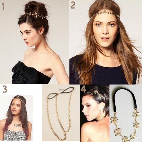 Fashion Gold Head Chain Headpiece Forehead Hair Band Grecian Boho Accessories