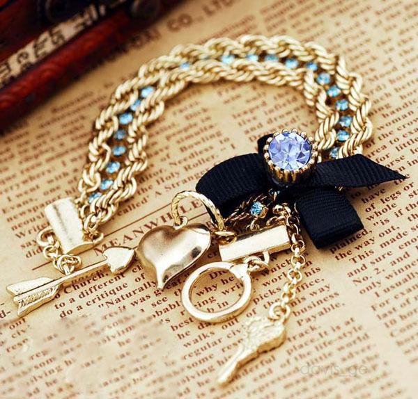 Fashion Golden Jewelry Butterfly Multi-layer bracelet blue stones bracelets VBF