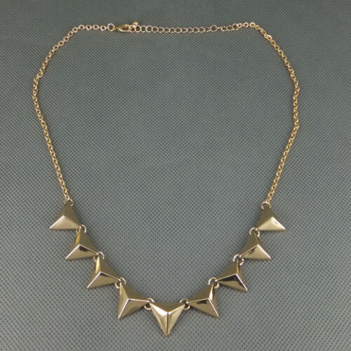 Fashion Punk Rock Gold-tone Metal Triangle Studs Necklace Pendant Free