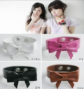 Fashion Punk Style Lovely PU Bowknot Bracelet Bangle