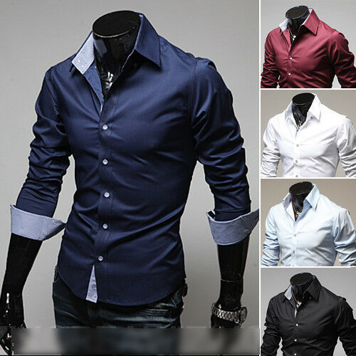 New Mens Slim Fit Casual Spot Cotton Dress Shirt Fashion 2 Colors ...