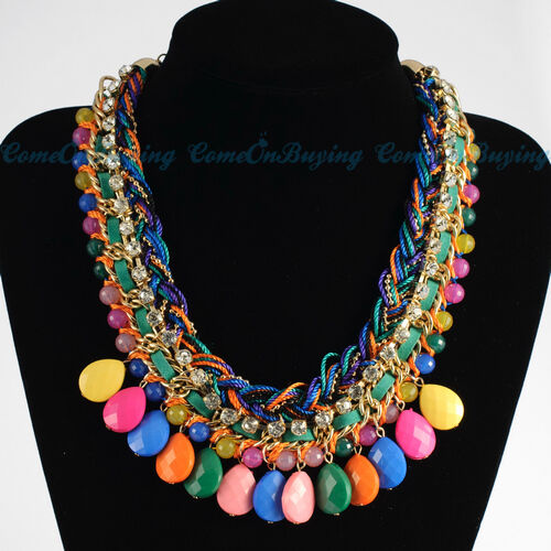 Fashion Weave Rope Chain Colorful Resin Rhinestone Bid Pendant Necklace N3627 in Jewelry & Watches, Fashion Jewelry, Necklaces & Pendants | eBay