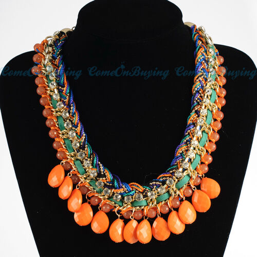 Fashion Weave Rope Chain Orange Resin Rhinestone Bead Bib Pendant Necklace N3626 in Jewelry & Watches, Fashion Jewelry, Necklaces & Pendants | eBay