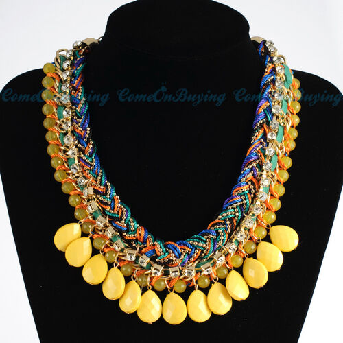 Fashion Weave Rope Chain Yellow Resin Rhinestone Bead Bib Pendant Necklace N3623 in Jewelry & Watches, Fashion Jewelry, Necklaces & Pendants | eBay