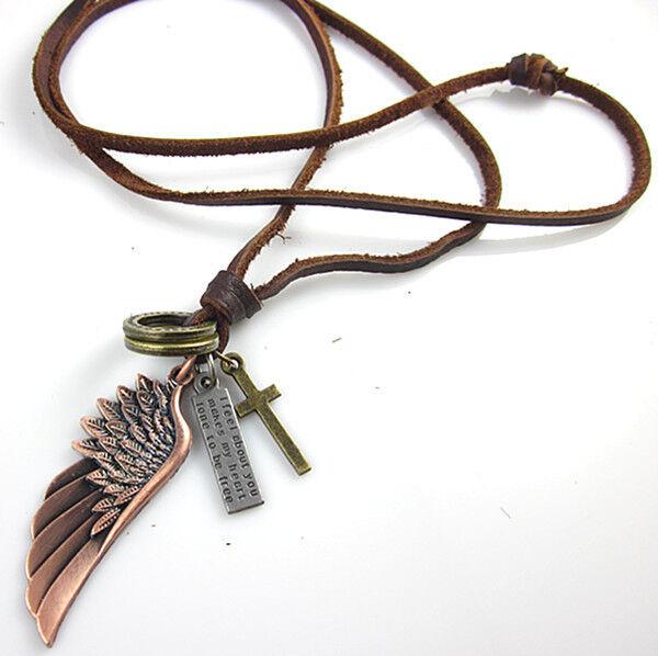 Mens Tibetan Angel Wing Cross Bronze Pendants Leather Necklace