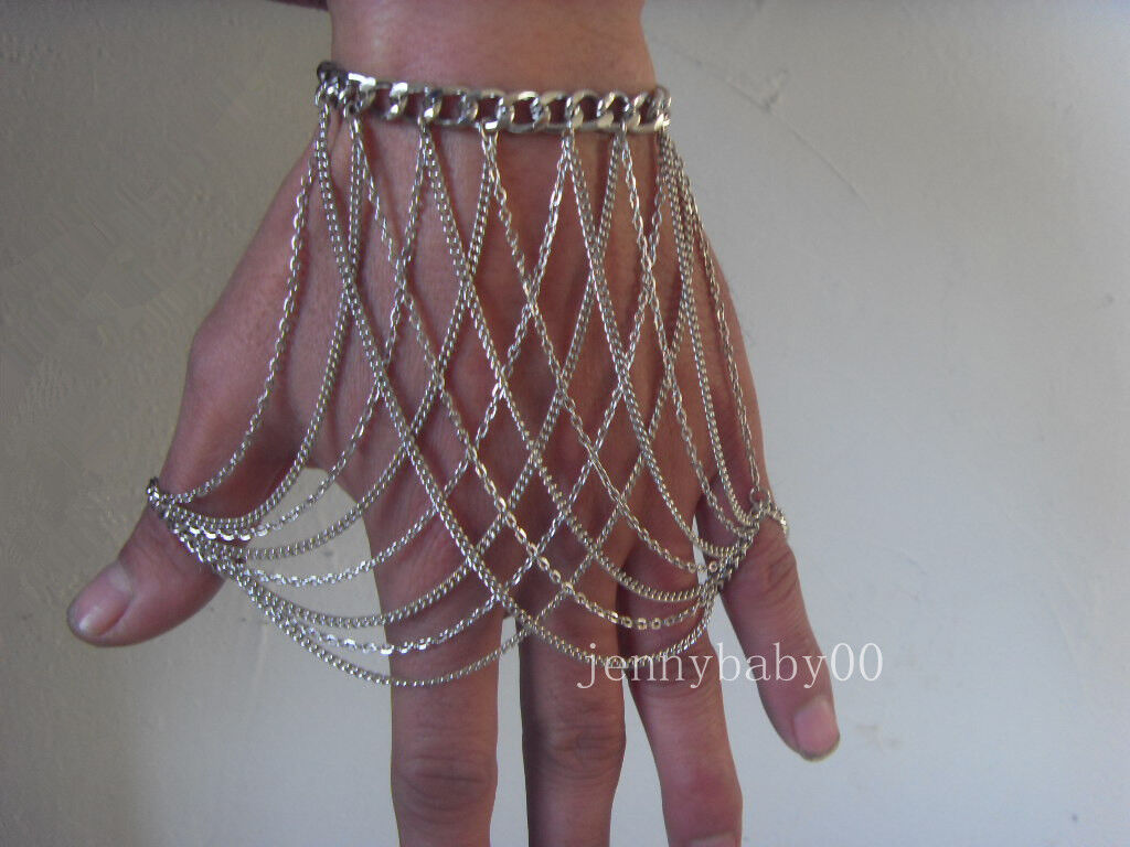 Fashion Women Metal Multilayer Hand Chain Bracelet Wrist With Ring Slave Jewelry