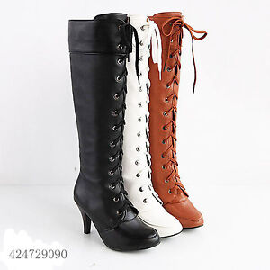 fashion s high heel lace up knee high boots shoes uk