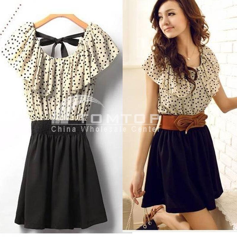Fashion Women's Summer Chiffon Short Sleeve Polka Dot Waist Top Dresses Skirt