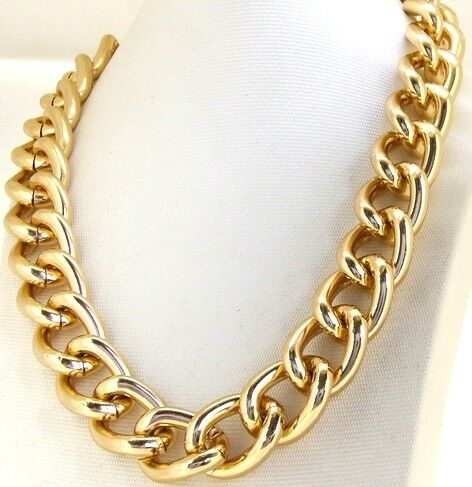Fashion Yellow Gold Plated Chunky Aluminium Curb Chain Necklace jewelry in Jewelry & Watches, Fashion Jewelry, Necklaces & Pendants | eBay