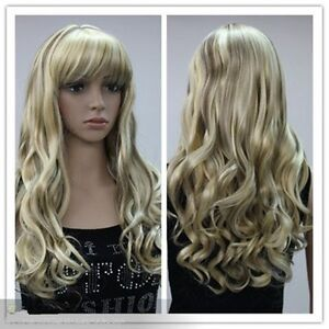 Fashion-new-womens-girls-wigs-blonde-mixed-long-curly-COSPLAY-WIG-WIG-CAP