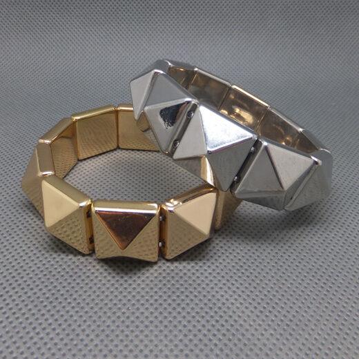 Fashion women Spike Chunky Pyramid Elastic Adjustable Silver Gold-tone Bracelet