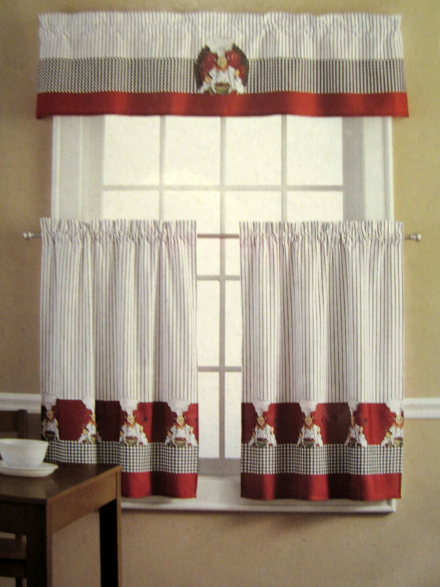 Red kitchen curtain valances Decorate the house with beautiful