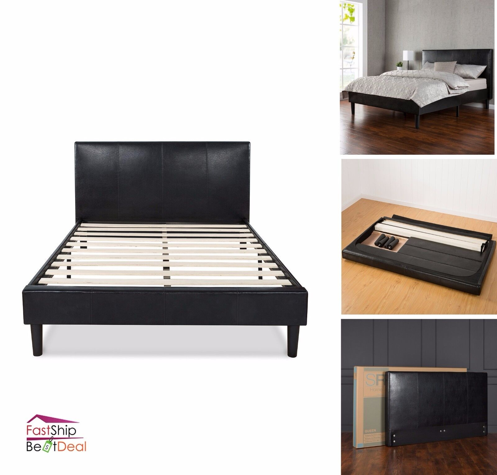 Faux Leather Upholstered Platform Bed Frame Wooden Slats